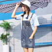 VIVAHEART Korean version of the waist dress to do the old hole cowboy strap short skirt VWQZ172433 dark blue M