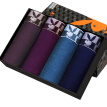 Playboy Men's Underwear Men's Boxer Youth Middle Waist Four-horned Rabbit Head Minggen Shorts Men's Ice Silk Pants 4 Pack Purple Coffee Purple Lake Green Navy Blue Pack XXXL