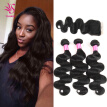 Brazilian Body Wave Hair 3 Bundles with Closure 7A Unprocessed Virgin Human Hair Weave Bundles Extensions Natural Color
