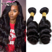 YYONG Virgin Hair Peruvian Loose Wave 4 Bundles  Natural Black Hair Extensions Peerless Peruvian Loose Wave Free Shipping