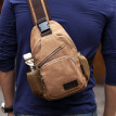Think of animal husbandry (SIMU) chest bag shoulder bag Messenger bag simple fashion canvas bag multi-function pockets can put ipad mini 1611 brown