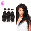 Brazilian Deep Wave Hair Waves Extensions 3Bundles Deep Wave Virgin Hair Natural Color 8-28inch Mixed Length Human Hair Bundles