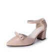 WETKISS New Genuine Leather Women Pumps Sexy Pointed Toe Dress Shoes Fashion Butterfly-knot Summer Women Shoes Ankle Strap Shoes