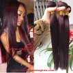 #99J Red Wine Colored Human Hair 3 Bundles Brazilian Virgin Hair Straight Weaves 8A Straight 99j Remy Hair Extensions