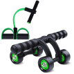 Kisson KANSOON sit-ups fitness equipment pedal pulls four rounds of healthy belly round sets of leather pull rope puller abdominal muscle wheel set green