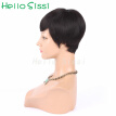 Sexy Women Short Black Pixie Cut Wigs Human Black Hair Short Bob Full Lace Wig Lace Front Wig Short None Lace Wig For Women