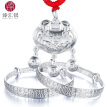 Zhenjiang silver silver silver silver jewelry package Bai Fu bracelet + year after year there are more than a lock package blessing long life lock push and pull bracelet total weight of about 21g