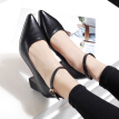 WETKISS 2017 Genuine Leather Women Shoes Ankle Strap Pointed Toe Women Pumps Fashion Shallow Boat Shoes High Heels Shoes Woman