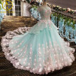 Lace Flower Bride Wedding Gown Pregnant Trailing Princess Vintage Luxury Wedding Dress Cloud Weeding Dress Robe De Mariage 2017