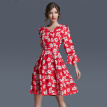 2017 Summer  New Fashion Slim Chiffon MD-LONG Flare Sleeve Floral Print Women's Dress Party Office Prom Beach Beauty Lady's skirt