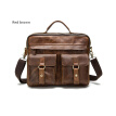 DALFR Genuine Leather Men Shoulder Bags 16/18 Inch Cowhide Handbags Casual Style Messenger Bags for Men Crazy Horse Leather