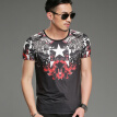 SHUYI Summer Tide Printing Short Sleeve Shirt Male Slim Round Neck Hot Drill Half Sleeve Mercerizing
