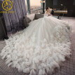 high quality real photos nice Luxury Feather Wedding Dress 2017 backless Bridal Gown Plus Size sexy women Lace Weeding Dress
