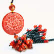 Looking for platinum (Milpro) car pendant jewelry agate stone car ornaments out of peace jade pendant car pendant - red