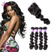 8A Indian Virgin Human Hair Wave 3 Bundles Loose Wave Hair With 4*4 Lace Closure Remy Hair Extensions