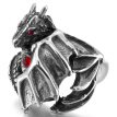 Men's Stainless Steel Glass Ring Band Silver Tone Skull Dragon Bat Wing