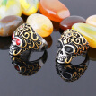 Color eye skull ring men titanium steel vacuum plating retro personalized jewelry, US size: 7 to13