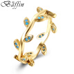 BAFFIN Bohemian Gold Plated Leaves Shaped Rings for Woman Simulated Kallaite Jewelry For Women Finger Rings