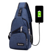 Men Casual Sling Bag Outdoor Travel Chest Shoulder Crossbody  with USB charging port
