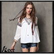 S M L High Quality chest 82-88cm chiffon vintage new summer 2018 white long sleeve women blouse shirt v neck embroidery fashion