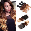 Indian Hair Ombre With Closure T1B/4/27 Ombre Indian Hair Body Wave Ombre Body Wave Bundles With Closure