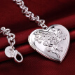 925 Sterling Silver wristband Women Bracelets Lovely Heart Pendant Hand Chain Romantic Flower Bridal Jewelry Wristband
