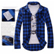 Men Plaid Shirt Camisas 2016 New Arrival Men\\\'s Fashion Plaid Long-sleeved Shirt Male Casual High Quality Shirt   Size M	 Bu