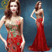 Luxury Mermaid Evening Dress 2017 Sequins/Rhinestones/Embroidery Sheer Backless Long Gorgeous prom dresses High-end custom qipao