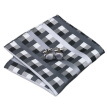 N-0577 Vogue Men Silk Tie Set Black Plaids Necktie Handkerchief Cufflinks Set Ties For Men Formal Wedding Business wholesale