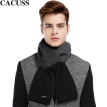 CACUSS W0039 pure wool simple scarf men's double spell wool scarves men winter scarves gift box Korean black One Size