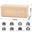 Alarm Clock Student Sound Control LED USB Solid Wood Desk Clocks Digital Tempreture Display Light LED Alarm Clock Orange Clock
