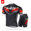 NUCKILY Bike Short Sleeve Clothing Set Cycling Jersey and Padding Short 2pcs Set For Men