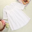 Casual Baby Girls White Lace Crochet Floral Party Dress Gown Formal Dresses 2-9Y