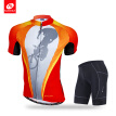 NUCKILY Men's summer Anti-uv mesh line fabric cycle apperal breathable jersey and shorts set for cyclist