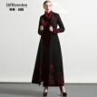DF · RS Black woolen coat female long paragraph knee knee 2017 autumn and winter new Slim warm wool coat