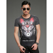 Summer new men 's personalized print short - sleeved T - shirt youth round neck Slim half - sleeved Shirt