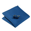 N-0652 Vogue Men Silk Tie Set Blue Stripe Necktie Handkerchief Cufflinks Set Ties For Men Formal Wedding Business wholesale