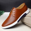 New  Men Casual Shoes Leather Breathable Holes Luxury Brand Flat Shoes for Men