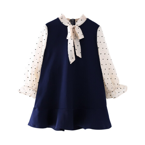 Clode for 2-7 Years Old Girls Fashion New Baby Girl Kids Bowknot Long Sleeve Christmas Day Dress Clothes
