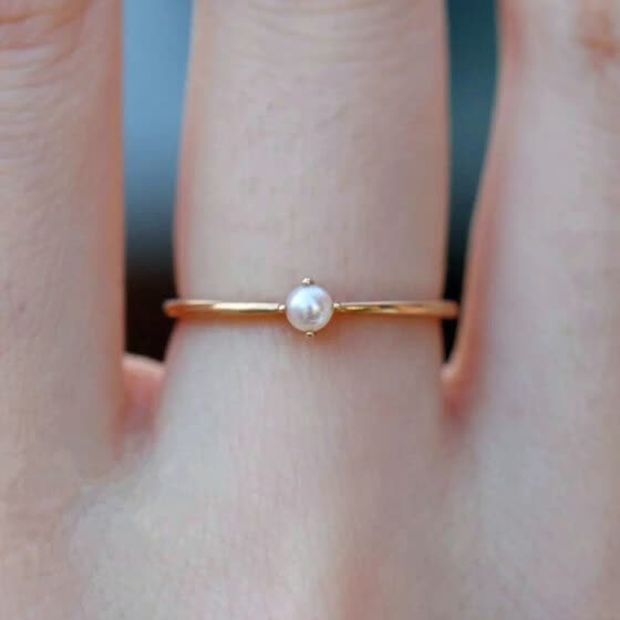 Simple Nordic Style Mini Freshwater Pearl Gold Filled Rings