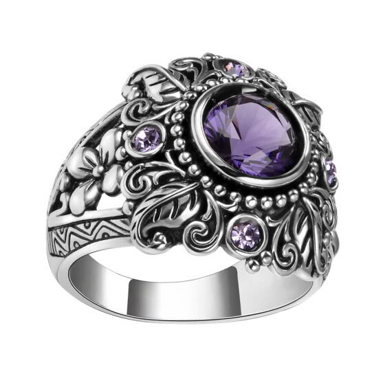 Bluelans Vintage Round Faux Amethyst Inlaid Carved Flower Women Finger Ring Jewelry Gift