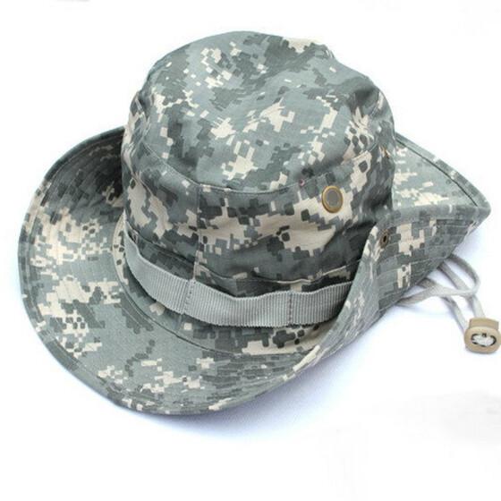 Breathable Boonie Fisherman Hat Wide Brim Sun Cap Military Camouflage Bucket Hat