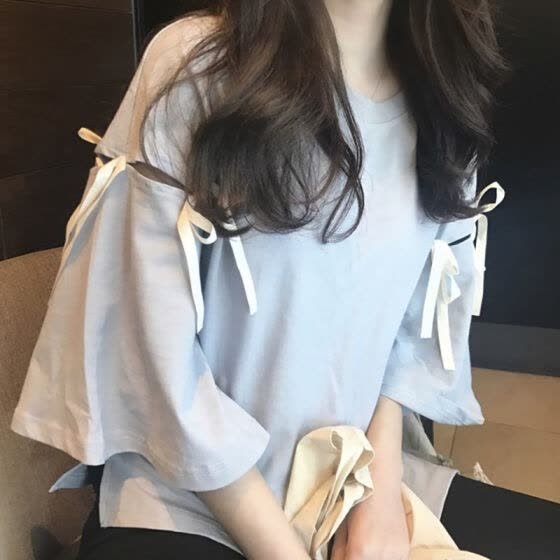 Summer Korean Harajuku Solid Women T Shirt Fashion Personality Hole Bandage Half Sleeve Student Tops Female Casual Loose Tshirt