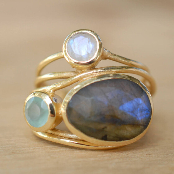 Natural Moonstone 925 Silver Plated Ring Men Jewelry Gemstone Wedding Size 6-10