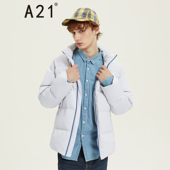b0707189030 A21 2018 autumn and winter new men s fashion stickers hit color zipper fit  collar long sleeve