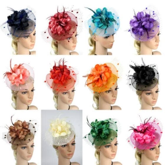Feather Fascinator Lady Mesh Flower Wedding Party Hair Band Accessory Headdress