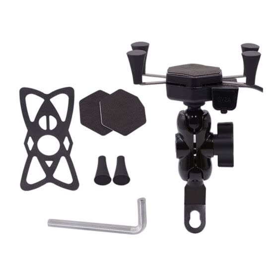 Motorcycle Cell Phone Grip Clamp Stand Holder Mount Bracket with USB Charger Socket for Smartphones