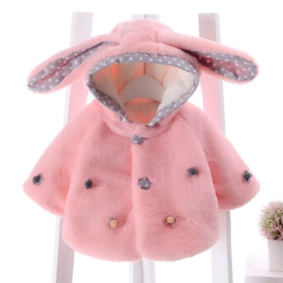 New Style Infant Girls Clothes Outerwear Cloak Jacket Toddler Baby Cute Fleece Fur Winter Warm Coat Kids Cute Ear Coat Clothes