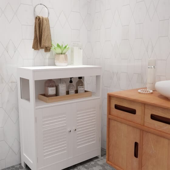 Shop Bathroom Storage Floor Cabinet Free Standing With Two Door Storage Mount Cabinet Online From Best Other Bathroom Products On Jd Com Global Site Joybuy Com