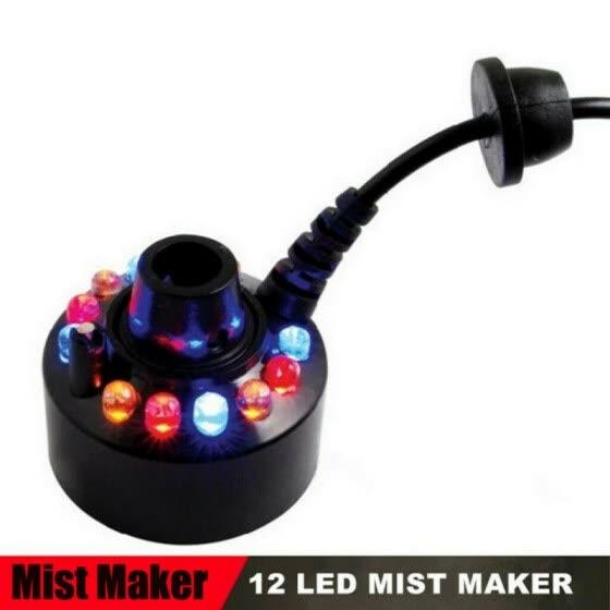 12 LED Mist Maker Fogger Atomizer Air Humidifier Water Fountain Pond Fog Machine